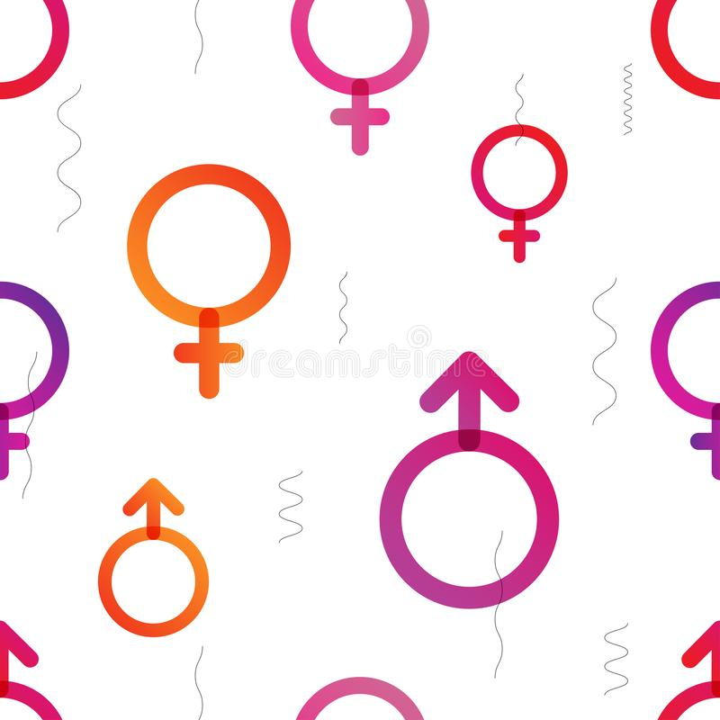 Love Actually vector colorful trendy seamless pattern. Love Actually vector colorful seamless pattern with gender symbols. Color transitions and simple shape royalty free illustration