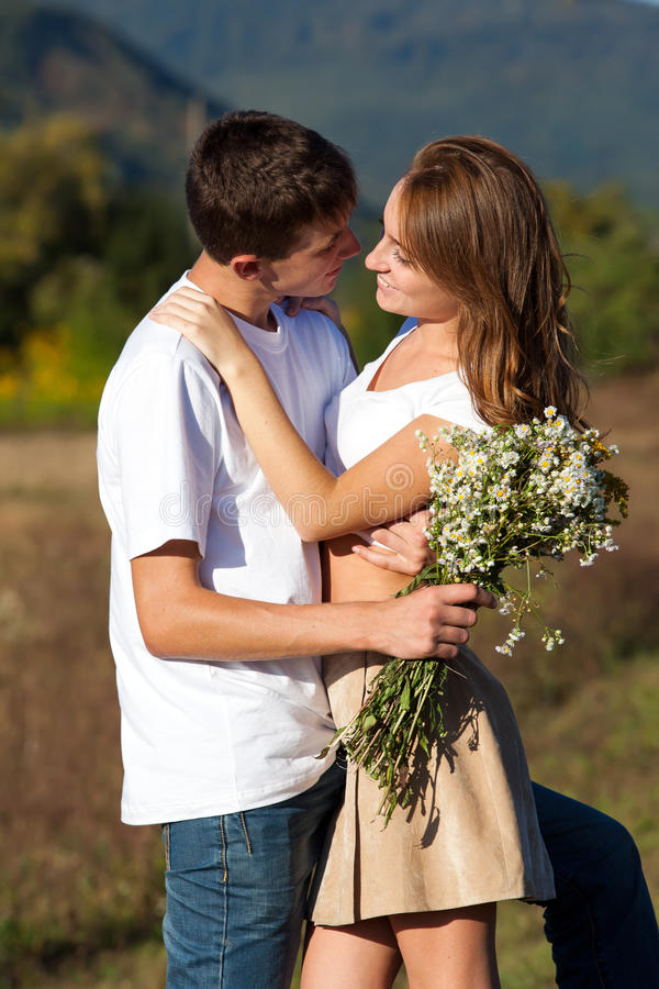 Love And Affection Between A Young Couple Royalty Free Stock Image