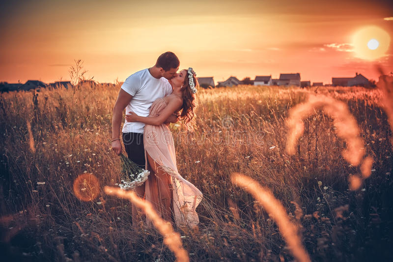 Love. And affection between a young couple royalty free stock photo