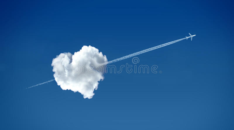 Love is in the air. Heart shaped cloud - love concept