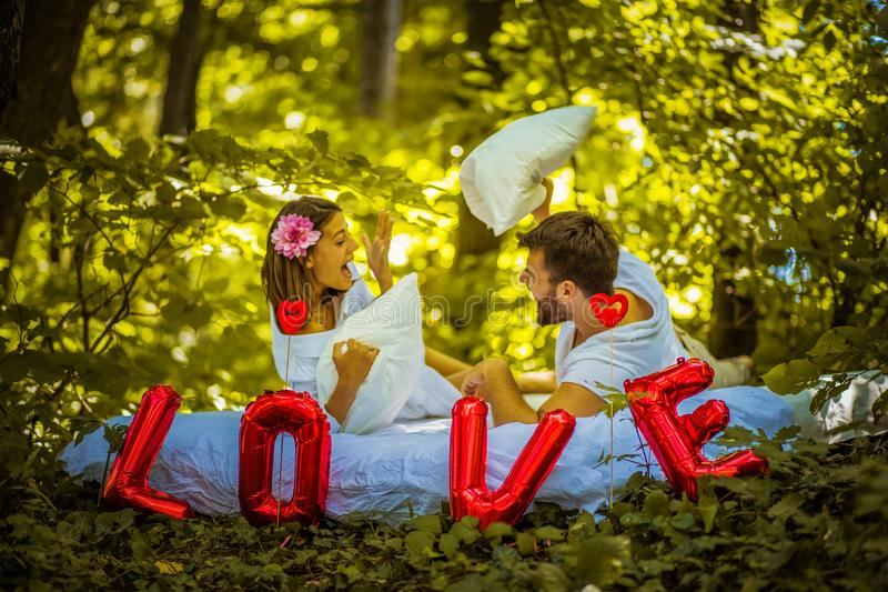 Love is in the air. Couple at nature. royalty free stock images