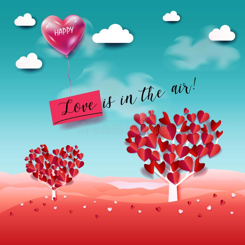Love is in the air lettering happy valentine`s day love concept poster royalty free illustration