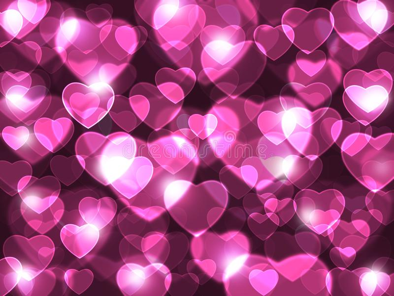 Love is in the air. Beautiful pink hearts lens background. stock illustration