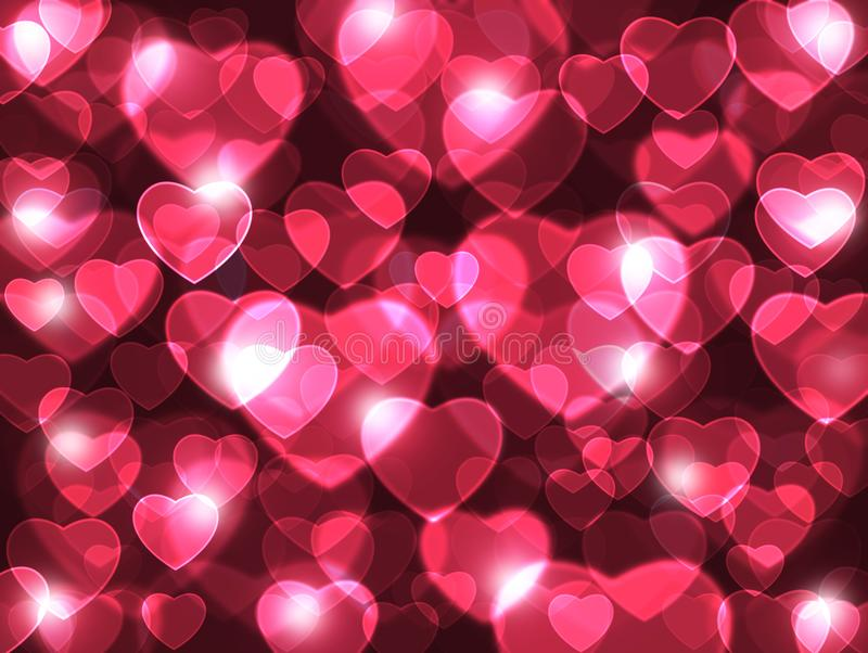Love is in the air. Beautiful red hearts lens background. royalty free illustration