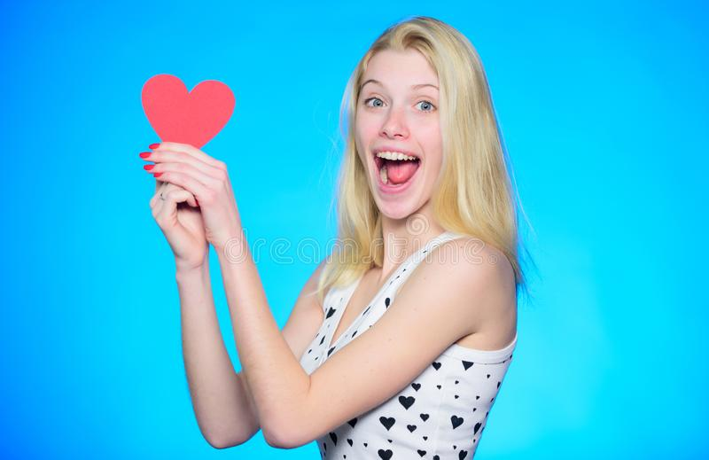 Love is in the air. Romantic greeting. Valentines day sales. Love and romance. woman with decorative heart. Date. happy stock photography