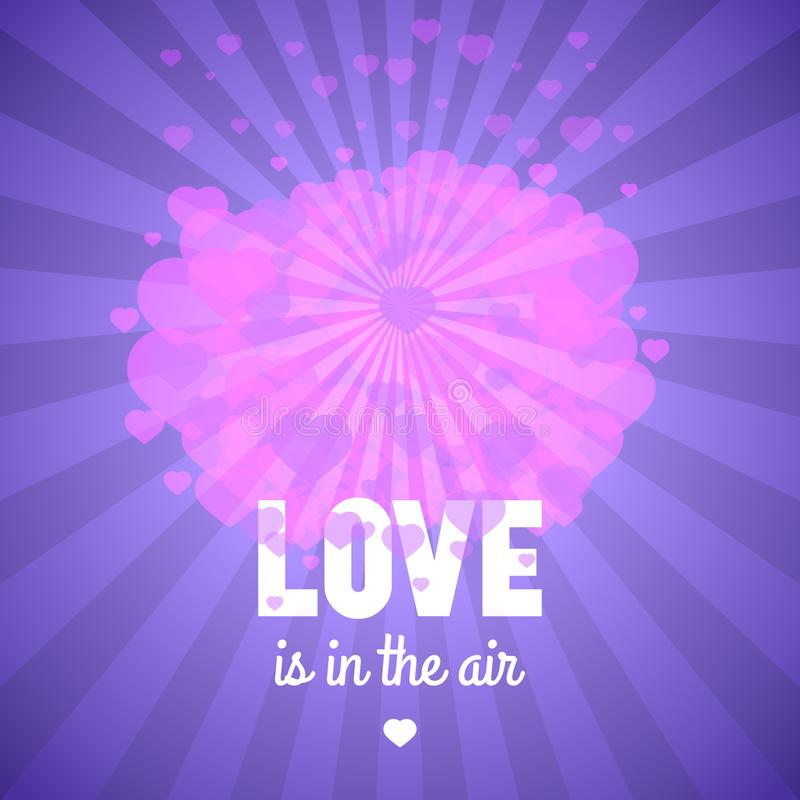 Love is in the air, st Valentine`s day greeting card, vector tem royalty free illustration