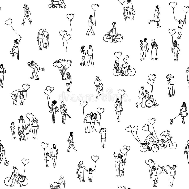 Love is all around - black and white vector illustration