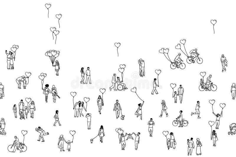 Love is all around - seamless banner. Illustration of tiny people holding heart shaped balloons. A diverse collection of small hand drawn men, women and kids in vector illustration