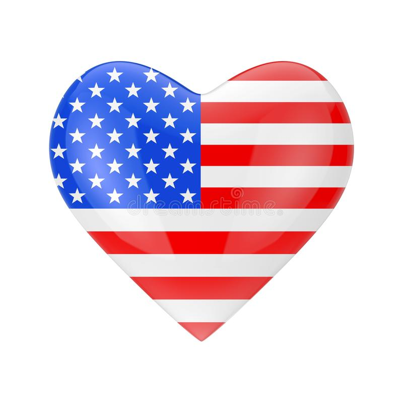 Love America Concept. USA Flag in Shape of Heart. 3d Rendering vector illustration