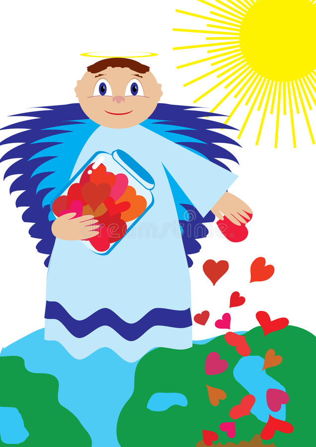 Love angel sow love for all over the World stock photo