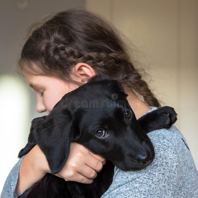 Love for animals concept. Pet and child royalty free stock photo