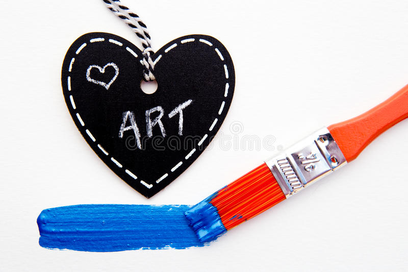 Love Art - Paint and brush. On white background stock photos
