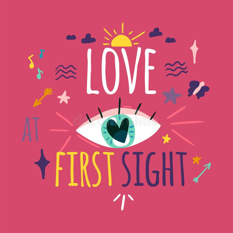 Free Love At First Sight Greeting Card Color Design Royalty Free Stock Photo - 138378715