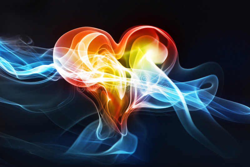 Love aura. Heart-shaped lightning photo effect, love or medical concept royalty free stock image