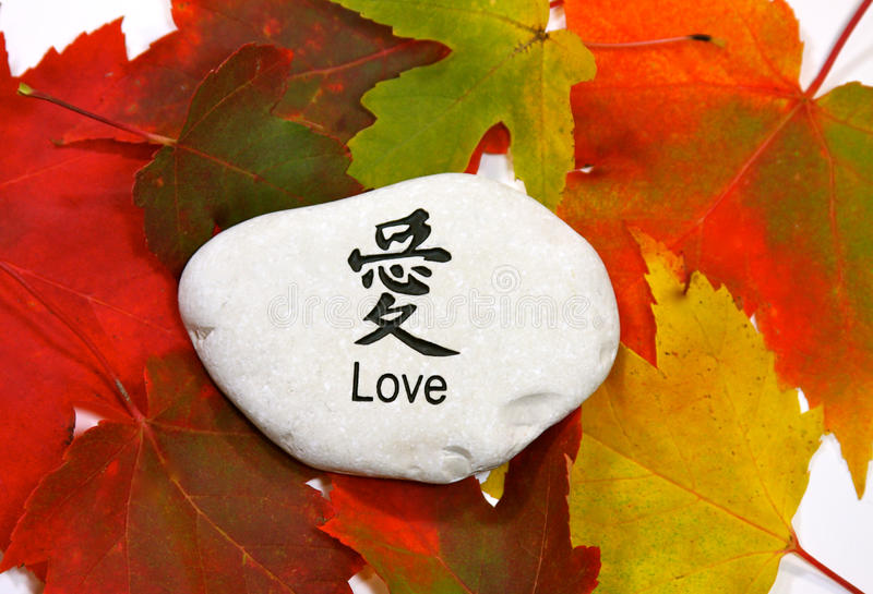 Love in Autumn Leaves. Word Love spelled out in English and Kanji lettering carved on a white rock surrounded by autumn maple leaves forms a concept for the love royalty free stock photography