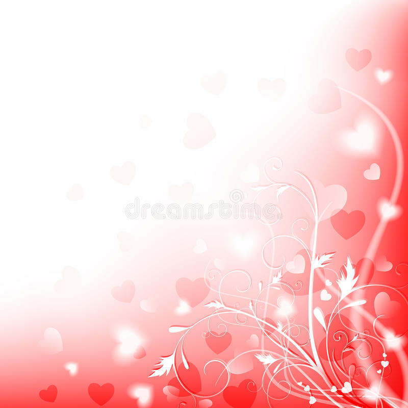 Love background. Abstract heart and floral shiny love background with copyspace, EPS10 stock illustration