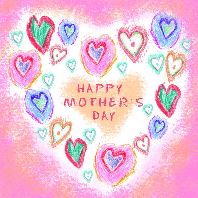 Love background. Hand drawn. Grunge heart. Love heart design. Greeting card. Happy mothers day stock photography