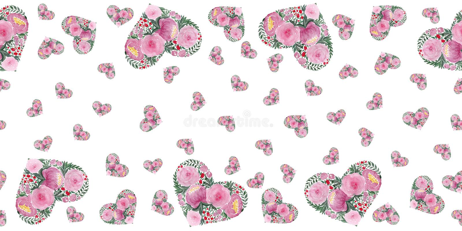 Love background with watercolor floral hearts design, horizontal seamless pattern with hearts, mothers day or valentines day backg. Love background illustration vector illustration
