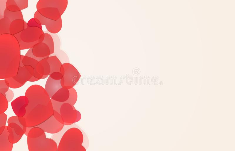 Love backgrounds with red hearts stock illustration