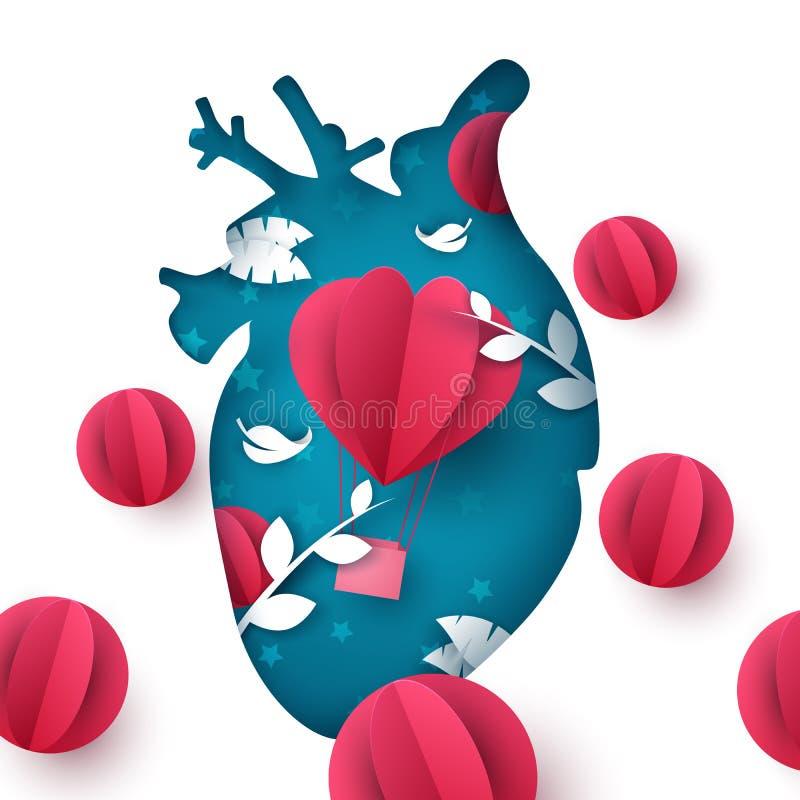 Love balloon landscape. Medical heart illustration. Vector eps 10 royalty free illustration