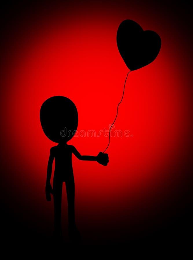 Love Balloon Silhouette Stock Photography