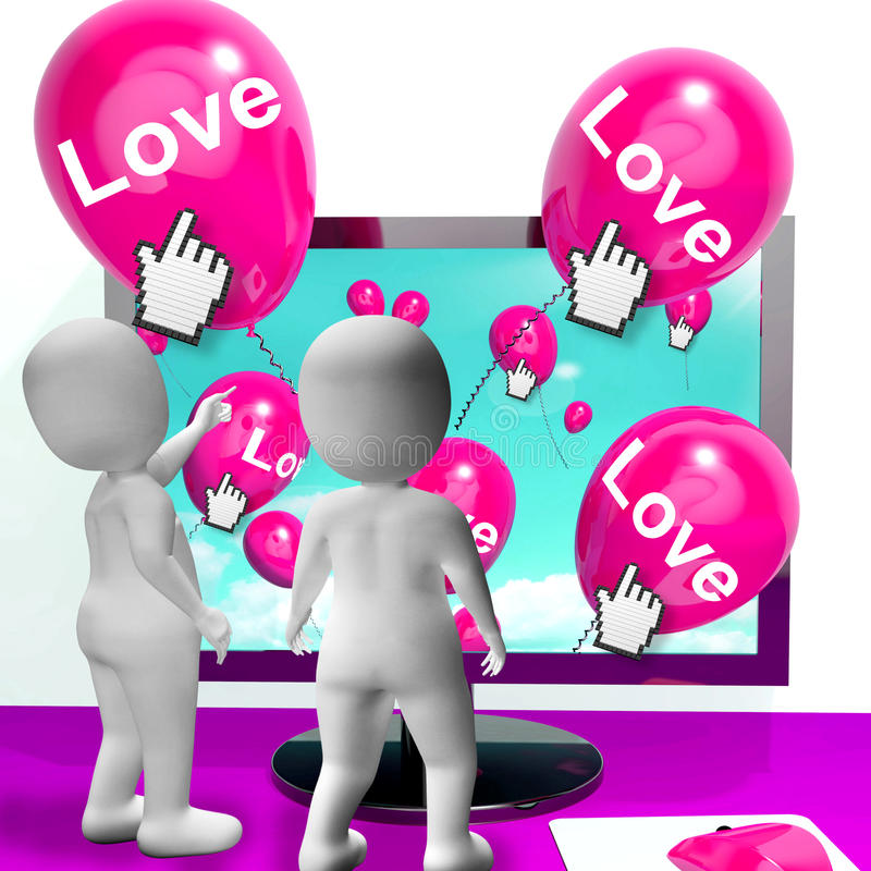 Love Balloons Show Internet Fondness and Affectionate Greetings. Love Balloon Showing Internet Fondness and Affectionate Greetings stock illustration