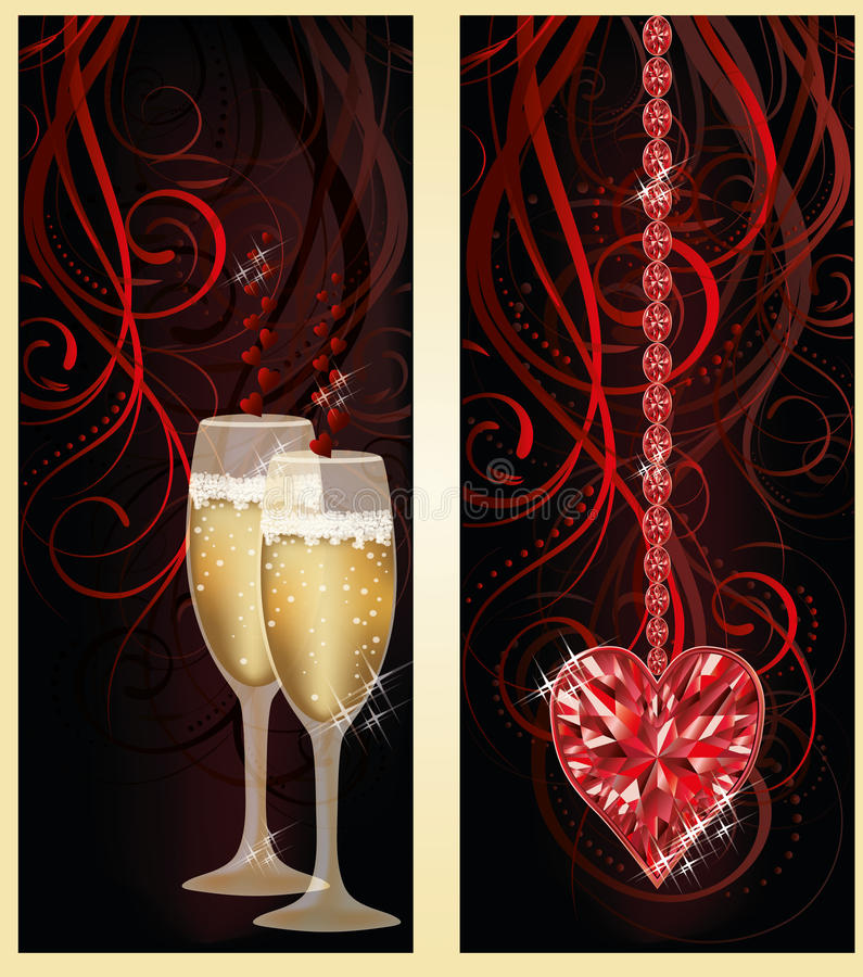 Love banners with champagne and ruby heart vector illustration