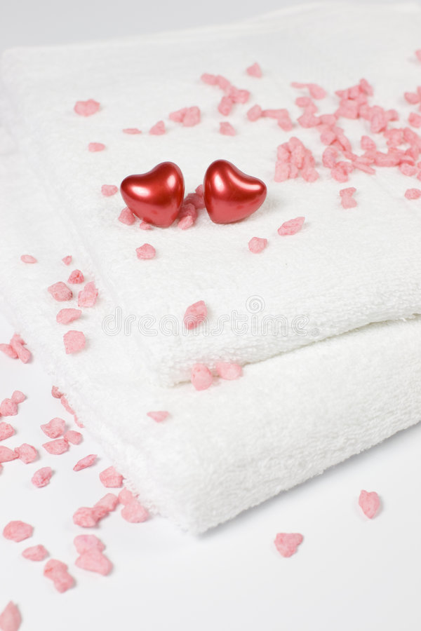 Download Love Bath - Hearts And Towels Stock Photo - Image: 7719096