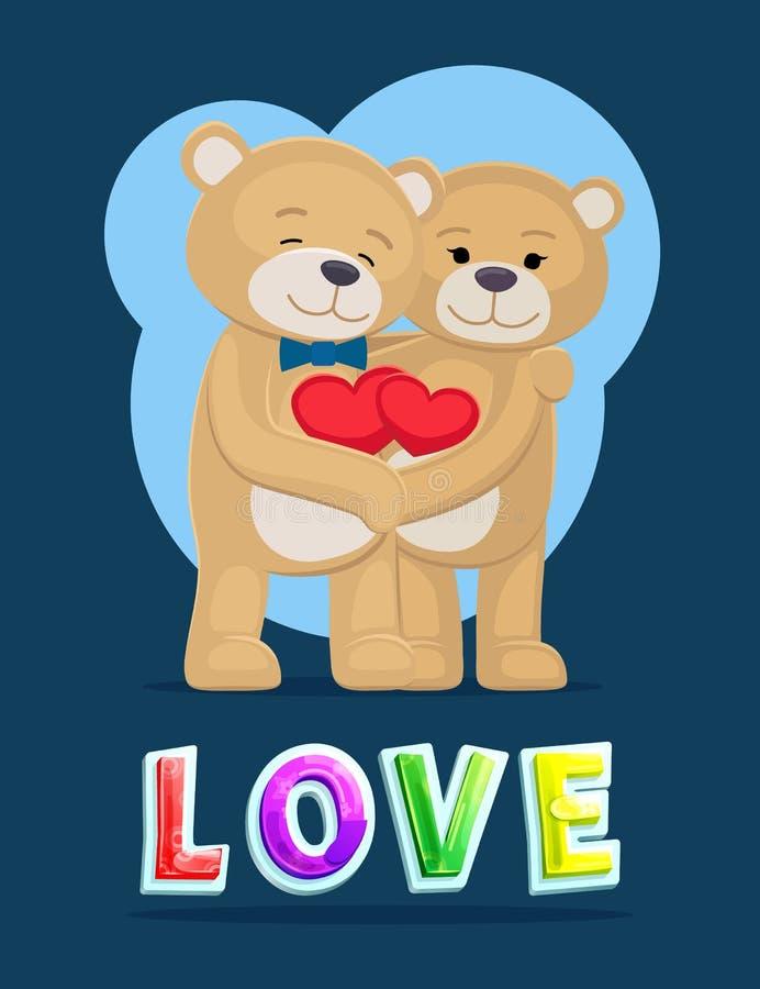 Love Bears Hugging Poster Vector Illustration vector illustration