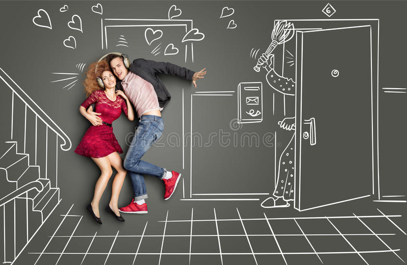 Love and beat. Happy valentines love story concept of a romantic couple sharing headphones and listening to the music on the stairs too loud for neighbors vector illustration