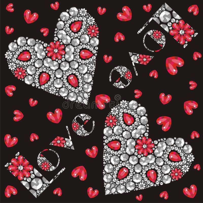 Download Love Beautiful Inscription And Red And Silver Heart Of Shining  Crystals, Congratulations On Valentineu0027s