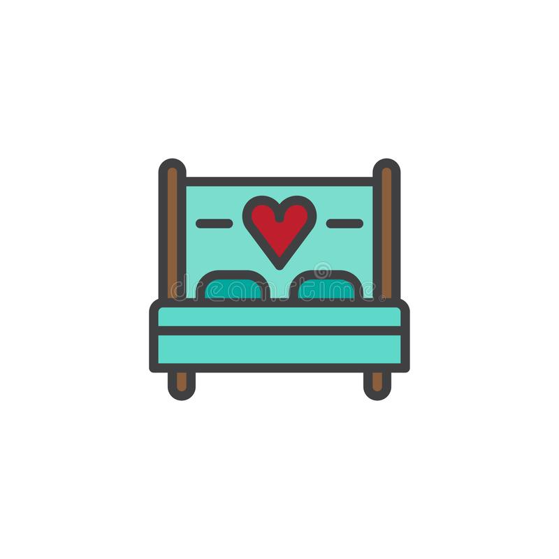 Love bed with heart filled outline icon. Line vector sign, linear colorful pictogram isolated on white. Sex, making love symbol, logo illustration. Pixel vector illustration