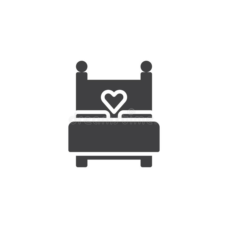 Love bed with heart icon vector. Filled flat sign, solid pictogram isolated on white. Sex, making love symbol, logo illustration royalty free illustration