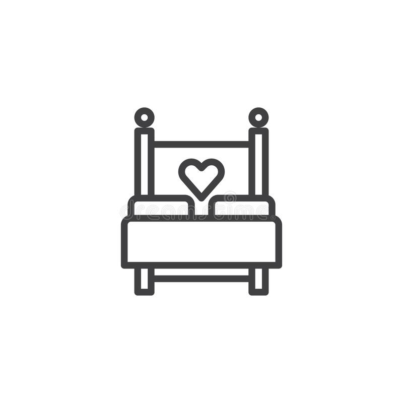 Love bed with heart line icon. Outline vector sign, linear style pictogram isolated on white. Sex, making love symbol, logo illustration. Editable stroke stock illustration