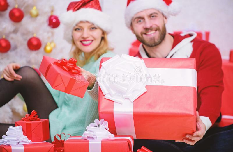 Love is best gift. Family married couple at home. Couple in love enjoy christmas holiday celebration. Woman and bearded royalty free stock images