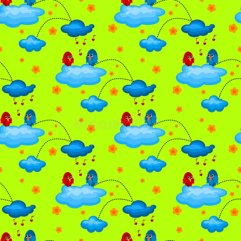 Love Bird In A Cloudy Garden Seamless Pattern Stock Images
