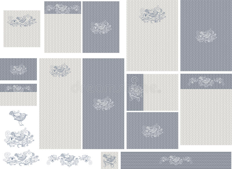 Download Love Bird Filigree On Chevron Contrasting Background Wedding Invitation Set Stock Illustration - Illustration of chevron, background: 66636203
