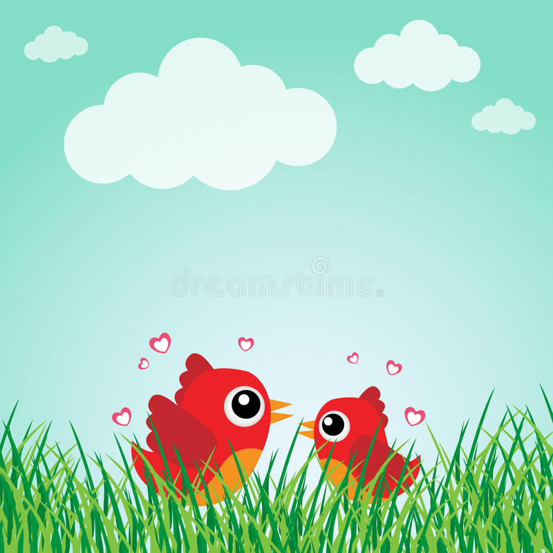 Love bird with hearts stock illustration