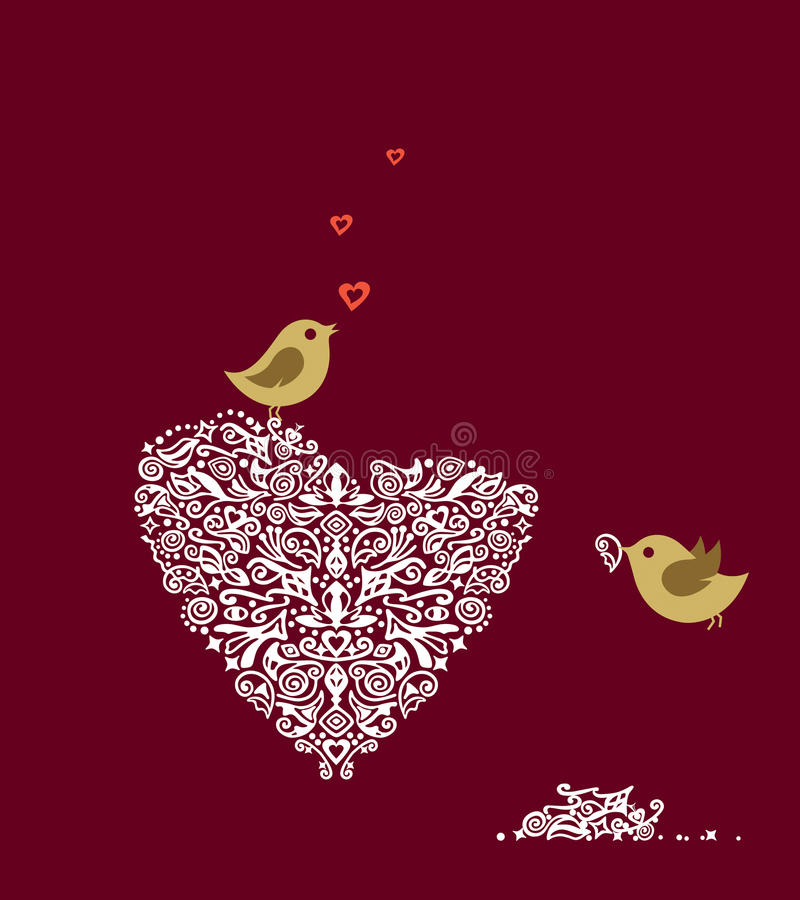 Love birds. Making their heart nest and singing. Vector illustration