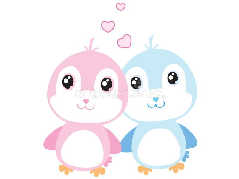 Love Birds. A boy and girl love birds royalty free illustration