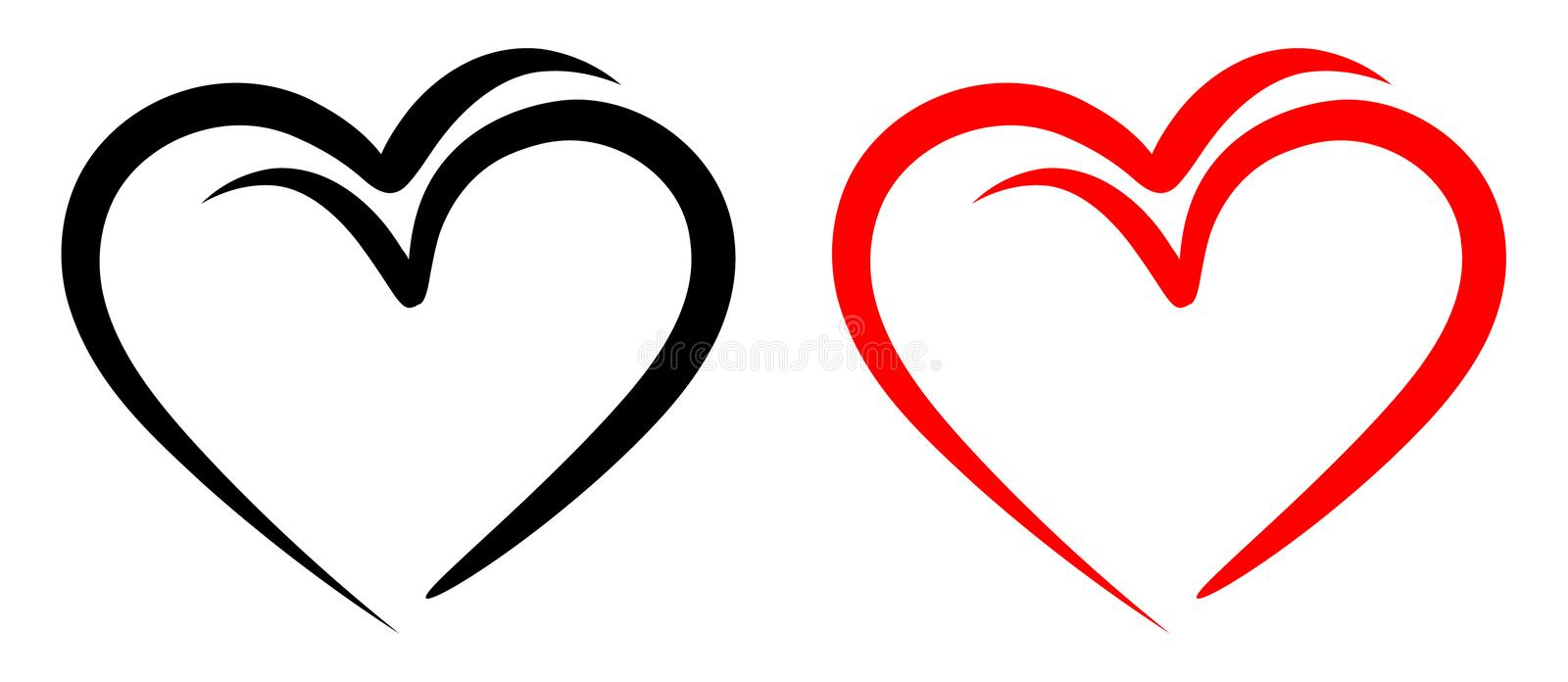Love birds with red and black two hearts. Birds with love symbol with red and black two hearts on simple illustration royalty free illustration