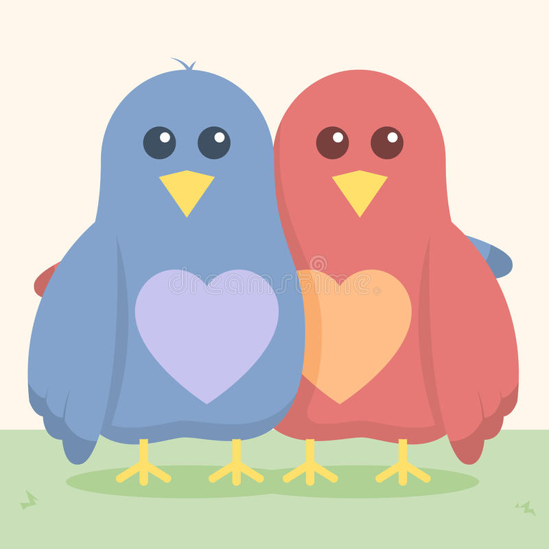 Love Birds. A cute illustration of two love birds hugging one another. Background placed on separate layer stock illustration
