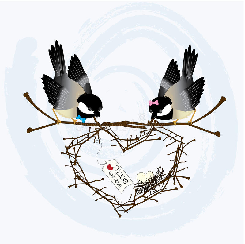 Download Love Birds stock illustration. Image of chickadees, family - 28593051