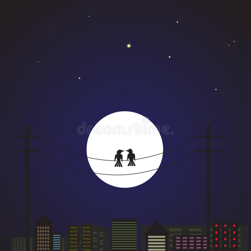 Download Love birds in the city stock illustration. Image of pole - 15679373
