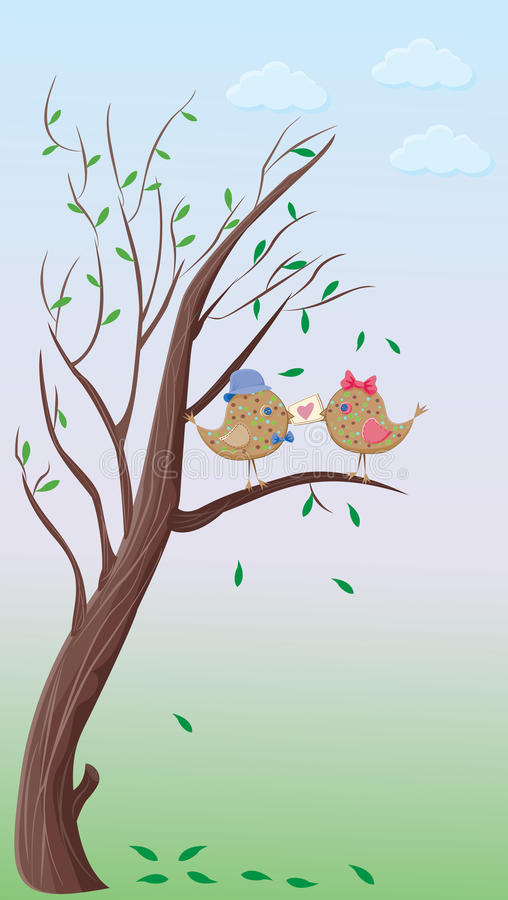 Download Love Birds Couple On A Tree Stock Vector - Image: 17827197