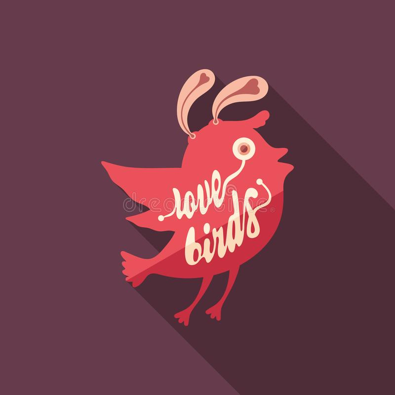 Love birds flat square icon with long shadows. vector illustration