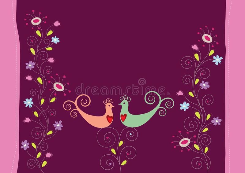 Love Birds And Flowers Royalty Free Stock Photo