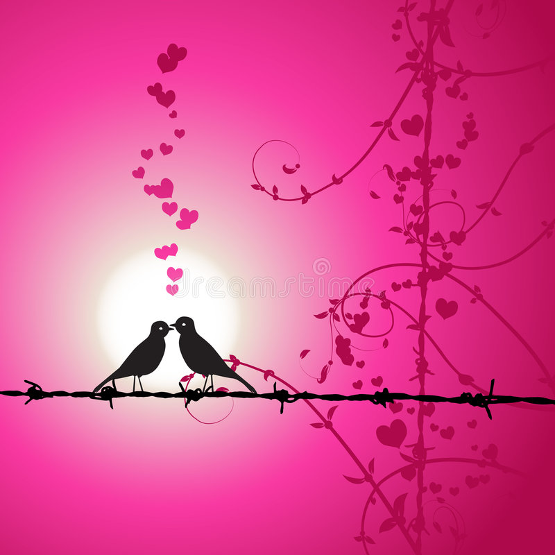 Download Love, Birds Kissing On Branch Stock Vector - Image: 8241493