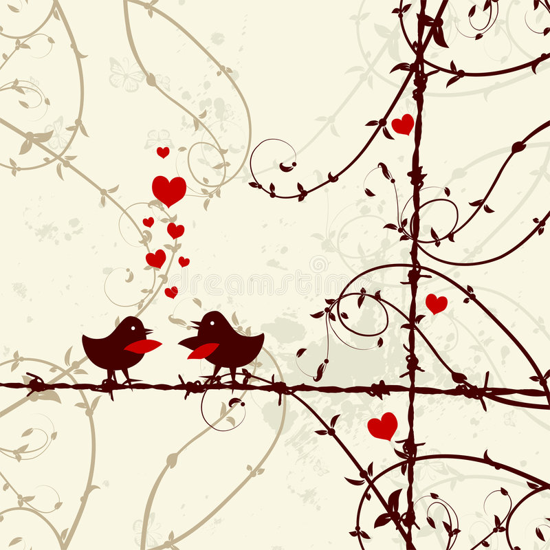 Love, birds kissing on branch stock illustration