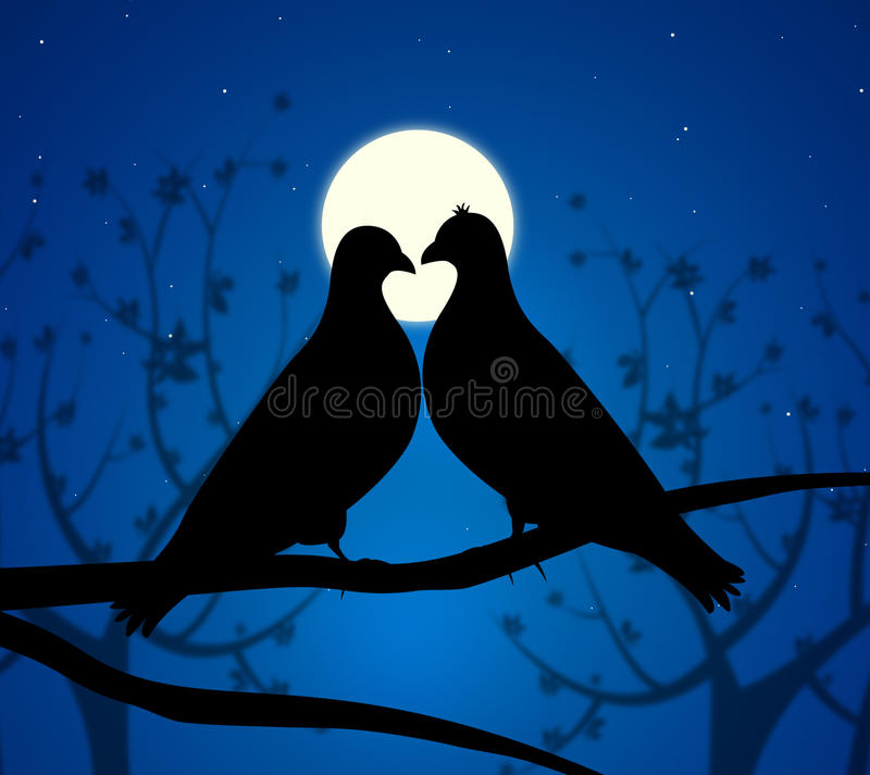 Love Birds Means Boyfriend Affection And Fondness vector illustration